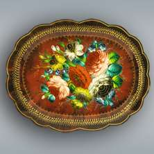 painted TRAY with floral ornaments. Vintage Russian style. Red metal