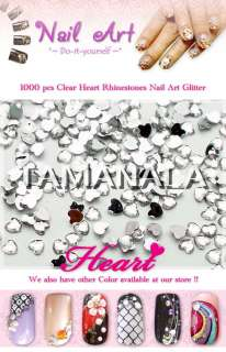 1000 Clear Heart Glitter Rhinestones Decor Nail Art #9