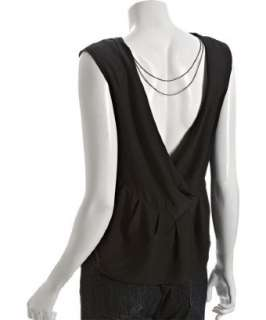 Geren Ford black silk crepe open back top