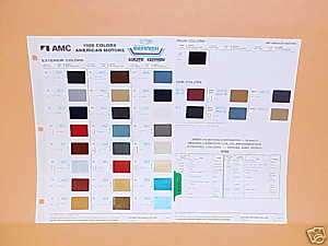 1986 AMC EXTERIOR PAINT CHIPS COLOR CHART GUIDE BOOK 86