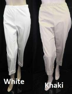 New Karen Kane White Khaki Capri Pants Lifestyle Cuff Pant Size 16