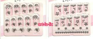 10 Sheet x Mix Designs Black Lace Fabric Nail Art Stickers Decals #NG