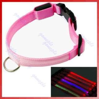 New LED Light Flashing Safety Nylon Collar Pet Dog Cat