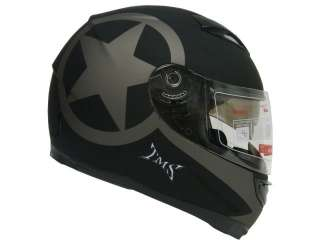 MATTE BLACK DUAL VISOR FULL FACE MOTORCYCLE HELMET W/ SMOKE SUN SHIELD