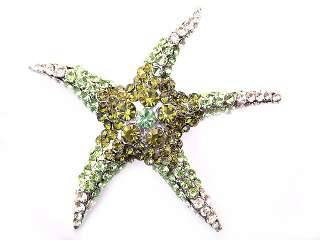 Peridot Green SWAROVSKI CRYSTAL Sea STARFISH PIN BROOCH