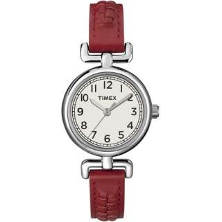 Timex Womens Weekender Watch Petite Black/Red Leather Strap