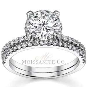 8mm Round Moissanite Engagement Ring Wedding Set
