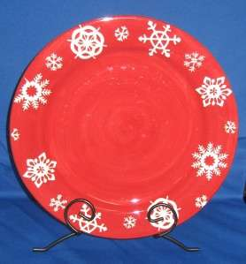 Home Hmq63 Christmas Dinner Plate~White Snowflakes Red